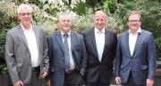 De gauche à droite, pour le lancement d'Actura : Jean-Baptiste Barbazanges (directeur réseau), Frédéric Carré (président), Xavier Bernard (vice-président), Éric Barbedette (directeur général). Photo : Actura