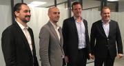 H.Sauvage/ Bioline Insurance veut assurer un million d'ha. De gauche à droite, Matthieu Denier, Antoine Poupart, Florian Dupuy et Laurent Martel, directeur de Bioline agriculture.