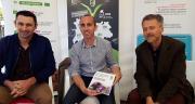 Sébastien Courtois (Sodiaal), Jérôme Caillé (Terrena) et Christophe Lécuyer (Axereal) ont profité du Salon Tech&bio pour témoigner de la progression de la bio au sein du mouvement coopératif. Photo : I.Aubert/Pixel6TM