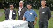 Avec le Club Starter, Walid Saadé, dir Compo Expert France (à gauche), souhaite réunir les acteurs dynamiques sur la fertilisation au démarrage, dont les fabricants de matériel (Sky Agriculture, Kuhn et Monosem, de gauche à droite).