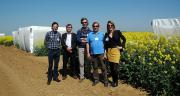 Une partie de l'equipe marketing et de l'équipe recherche du semencier Dekalb sur le site expérimental de Boissay (28).