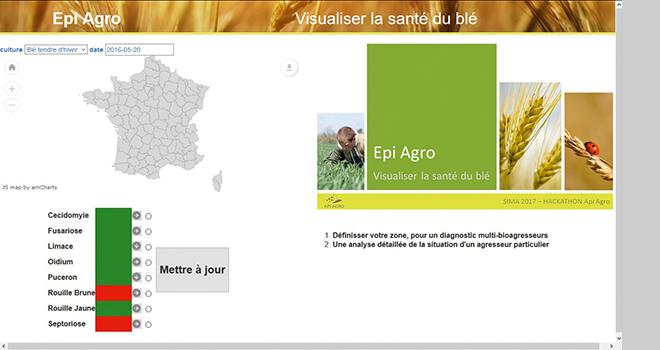 Epi Agro: outil interactif de l'état de santé des grandes cultures.
