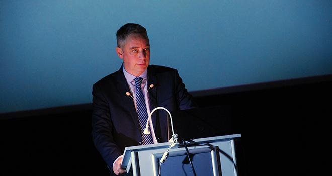 Antoine Hacard, président d'Acolyance, évoquant un groupe coopératif compétitif et moderne engagé dans les Ag-Tech. ©M.Lecourtier/Pixel Image