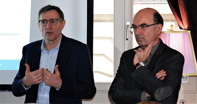Dominique Chargé, président de Coop de France, et Arnaud Degoulet, président de Coop de France agroalimentaire. Photo O.Lévêque/Pixel6TM