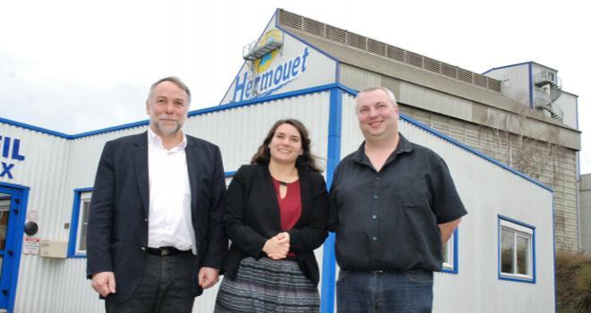François Gibon, directeur du Naca, aux côtés de Laure Jacques et de Mickael Murail, du négoce Hermouet. CP : O.Lévêque/Pixel6TM.