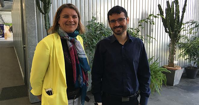 Séverine Jeanneau et Guillaume Guepet ont présenté Zorvec active, le nouveau produit antimildiou pour les pommes de terre de Corteva Agriscience. Photo : S.Bot/ATC