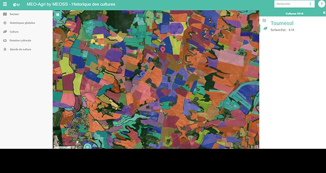 Avec l'outil MEO-Agri, il est possible de connaître l'assolement sur un territoire ainsi que l'historique des cultures sur une parcelle données. © Meoss