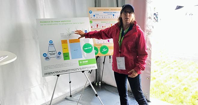 Catherine Gauthier, responsable marketing céréales Basf, évoque le 1ier isopropanol-azole  lors des Culturales 2019. Photo O.Lévêque/Pixel 6TM