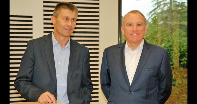 Olivier Chaillou (à gauche), le président de Terrena, et Alain le Floch, le directeur, en amont de l'AG 2020. CP : O.Lévêque/Pixel6TM