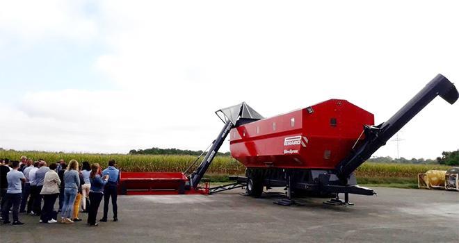 Encore à l'étape de prototype, le silo est installé à Castaignos-Souslens (40) pour la saison de récolte du maïs. Photo : DR